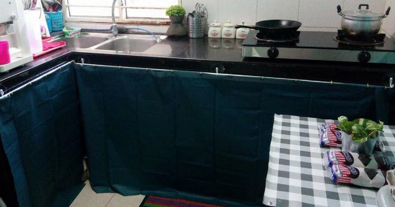 Gambar Dengan Modal Tak Sampai Rm50 Langsir Kabinet Dapur Ini Nampak Lebih Kemas