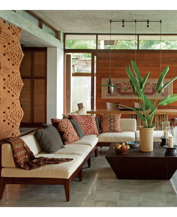 Living Rooms Balinese Interior Design Bali Style Brick Wall Google Search Indonesian Textiles Ethnic Room Modern