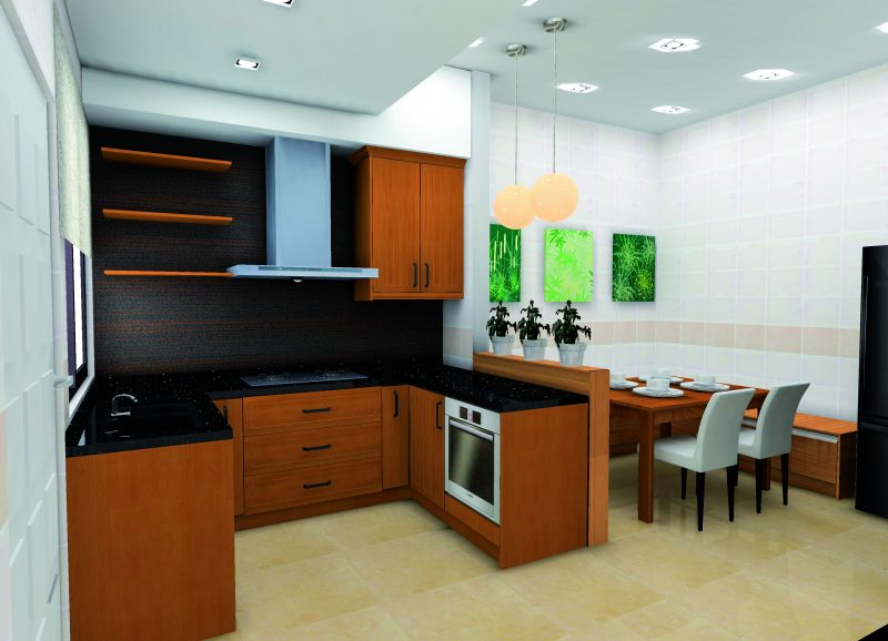 Ruang Dapur Kecil Ini Tidak Pernah Gagal Menarik Perhatian Sesiapa Sahaja Yang Melangkah Masuk Ke Kediaman Teres Superlink Palitan Warna Jingga